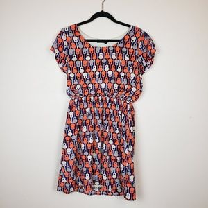 Peach Love Orange Grey & Purple Guitar Dress sz L
